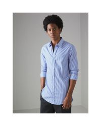 Burberry - Blue Embroidered Collar Striped Cotton Shirt for Men - Lyst