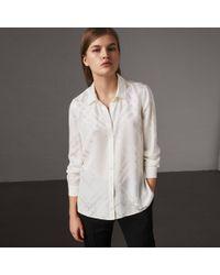 0d0e99ca2a53e6 Lyst - Burberry Tonal Check Silk Shirt White in White
