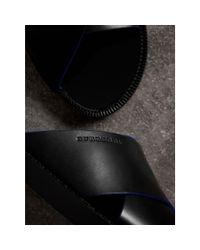 Burberry - Black Ledersandalen mit kontrastierendem Detail for Men - Lyst
