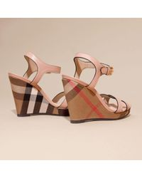 Burberry - Multicolor House Check Detail Leather Wedge Sandals - Lyst