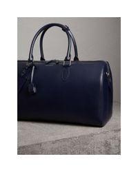 Burberry - Blue London Leather Holdall Dark Navy for Men - Lyst