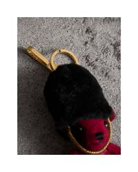 Burberry - Red The Guardsman Thomas Bear Charm In Check Cashmere - Lyst