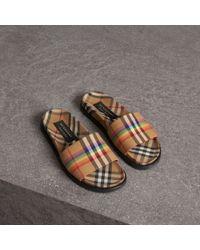 70b15386e9a Burberry Rainbow Vintage Check Slides - Lyst