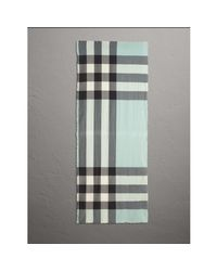 Burberry Multicolor The Lightweight Cashmere Scarf In Check Dusty Mint