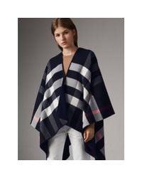 Burberry - Blue Reversible Check Merino Wool Poncho - Lyst