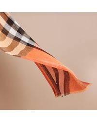 Burberry - Multicolor Lightweight Check Linen Scarf Clementine for Men - Lyst