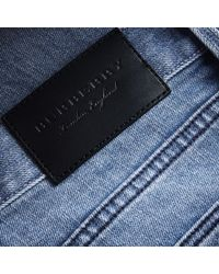 Burberry - Blue Skinny Fit Brushed Stretch Denim Jeans for Men - Lyst