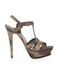 Saint Laurent | Natural Army Tribute High Heel Sandals | Lyst