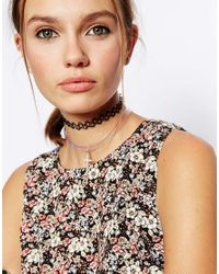 ASOS - Metallic 90S Cross Invisible Choker Necklace - Lyst