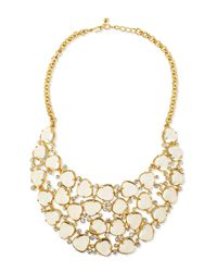 Kenneth Jay Lane | Metallic Gold-plated Bib Necklace W/crystals | Lyst