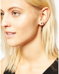 ASOS - Metallic Gold Plated Sterling Silver Connecting Heart Stud Earrings - Lyst