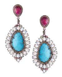 Bavna | Blue Ruby Moonstone Turquoise Drop Earrings | Lyst