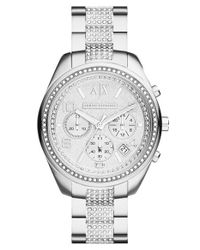 Armani Exchange | Metallic Crystal Accent Chronograph Bracelet Watch | Lyst