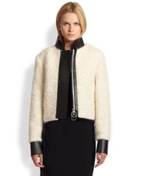 Acne Studios - White Leathertrimmed Lamb Fur Jacket - Lyst