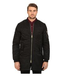 Scotch & Soda - Black Quilted Long Bomber Jacket for Men - Lyst