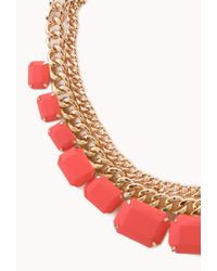 Forever 21 - Orange Bright Thing Faux Stone Necklace - Lyst