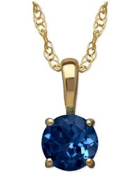 Macy's | Blue Sapphire Round Pendant Necklace In 14k Gold (2/3 Ct. T.w.) | Lyst