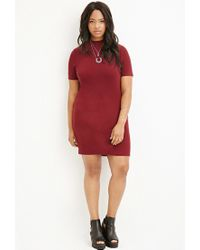 Forever 21 | Purple Plus Size Textured Mock Neck Shift Dress | Lyst