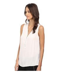 The Kooples - White Tank Top With A Zip Neckline In Silk And Jersey - Lyst