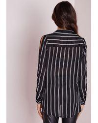 Missguided - Cold Shoulder Stripe Shirt Black - Lyst