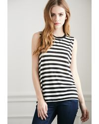 Forever 21 | Natural Striped Muscle Tee | Lyst