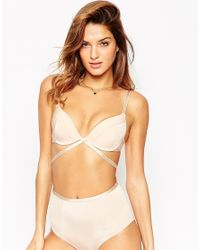 ASOS | Natural Basic Microfibre Mix & Match Moulded Strappy Plunge Bra | Lyst