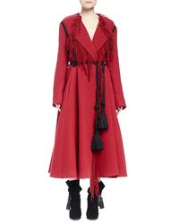 Lanvin - Red Tassel-belted Long Fringe A-line Coat - Lyst