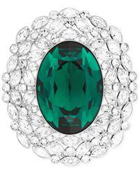 Swarovski - Rhodium-Plated Green Crystal Brooch - Lyst