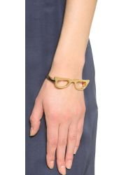kate spade new york - Metallic Goreski Glasses Bangle Bracelet - Gold - Lyst