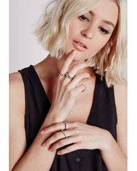 Missguided | Metallic Thin Pearl Detail Stacking Rings Silver | Lyst
