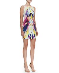 Nicole Miller Artelier - Multicolor Sleeveless Bateau-Neck Geo-Print Dress - Lyst