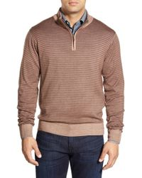 Peter Millar | Brown Stripe Quarter Zip Wool Pullover for Men | Lyst