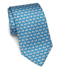 Ferragamo | Blue Buoy-print Silk Tie for Men | Lyst