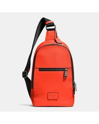 COACH - Red Campus Pack In Pebble Leather for Men - Lyst