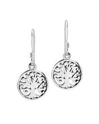 Aeravida | Metallic Blossoming Tree Of Life Sterling Silver Dangle Earrings | Lyst