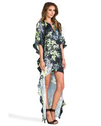 BCBGMAXAZRIA | Black Stretch Knit Faux Wrap Dress | Lyst
