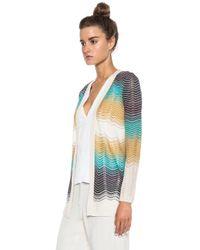 M Missoni - White Color Block Ripple Knit Viscose-blend Cardigan - Lyst
