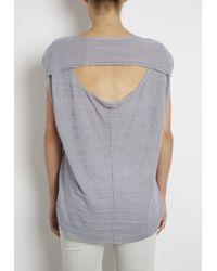 INHABIT | Blue Textured Stripe Open Back Tee | Lyst