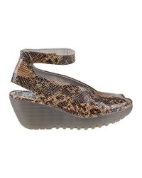 Fly London - Multicolor Yala Wedge Sandal Stone Snake - Lyst
