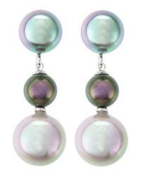 Majorica | Green Triple Pearl-Drop Earrings | Lyst