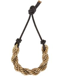 Lanvin - Metallic Gold And Black Katoucha Chain Necklace - Lyst