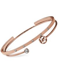 Michael Kors | Metallic Rose Gold-Tone Clear Crystal Open Cuff 2-Pc. Bangle Set | Lyst
