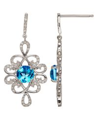 Lord & Taylor | Sterling Silver Blue Topaz And Diamond Drop Earrings | Lyst