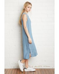 Forever 21 - Blue Chambray Midi Dress - Lyst