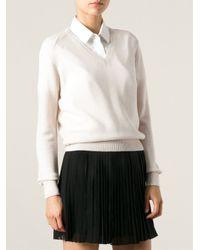 Vanessa Bruno Athé - Natural V-Neck Sweater - Lyst