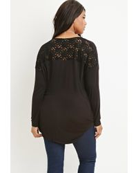 Forever 21 | Black Lace-paneled Surplice Top | Lyst