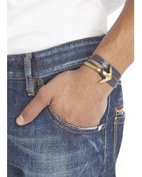 Miansai - Blue Navy Double Wrap Leather Anchor Bracelet for Men - Lyst