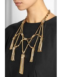 Lanvin - Metallic Tasseled Gold-tone Swarovski Crystal Necklace - Lyst