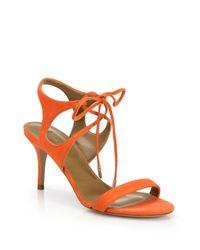 Aquazzura - Orange Colette Suede Ankle-tie Sandals - Lyst