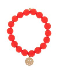 Sydney Evan | Orange Agate Happy Face Bracelet | Lyst